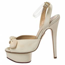 Charlotte Olympia Cream Satin Bridal Edition Serena Bow Platform Sandals Size 35 326958