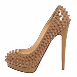 Christian Louboutin Beige Patent Leather Alti Spikes Platform Pumps Size 38 327978