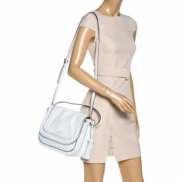 Kate Spade White Leather Tassel Flap Top Handle Bag 327109