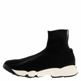 Dior Black Sock Knit Fabric High-Top Slip On Sneakers Size 37 326810