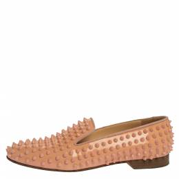 Christian Louboutin Peach Patent Leather Rolling Spike Slip On Loafers Size 40 324779