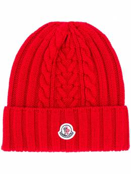 Moncler logo patch knitted beanie F20939Z70600A9146
