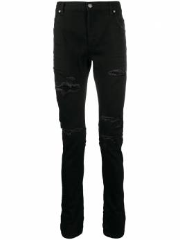 Balmain ripped mid-rise skinny jeans UH15254Z004