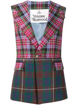 Vivienne Westwood Tartan-check sleeveless blazer 1C01000611665SI