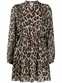 Semicouture leopard print tiered dress Y0WS04