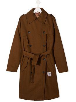No.21 Kids TEEN double-breasted belted coat N214C3N0082