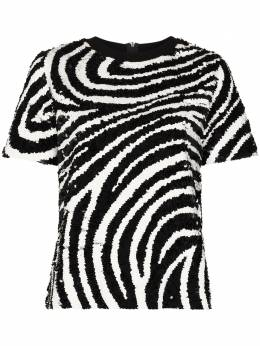 Ashish zebra stripe sequin cotton T-shirt T15