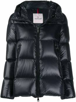 Moncler logo patch hooded puffer jacket F20931A20000C0151