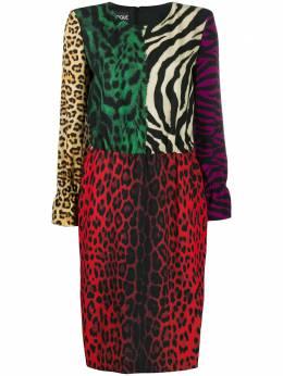 Boutique Moschino платье в стиле колор-блок с анималистичным принтом A04275834