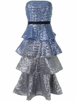 Marchesa Notte ярусное платье с пайетками N41C1977