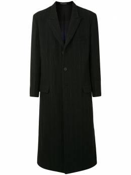 Yohji Yamamoto однобортное пальто в тонкую полоску HRJ26849
