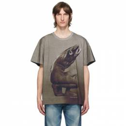 Vyner Articles Brown and Black Digital Cod Print T-Shirt 0A038010
