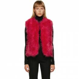 Yves Salomon Red Feather Cropped Vest 21W9WAA10455PLUX