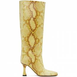 Proenza Schouler Yellow Snake Tall Boots PS35044B 12045