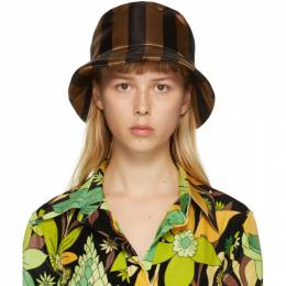 Fendi Brown and Black Thick Stripes Woven Bucket Hat FXQ669 ADFH