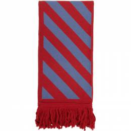 Off-White Red and Blue Diag Scarf OMMA001F20KNI0012509