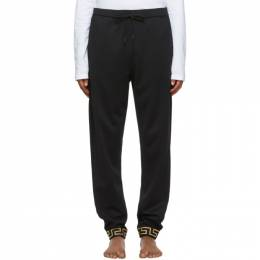 Versace Underwear Black Greek Key Cuff Lounge Pants AGU03006 A233025