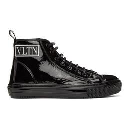 Valentino Black Valentino Garavani Patent VLTN High-Top Sneaker UY2S0D51LDD
