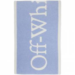 Off-White Blue and White Felted Wool New Logo Scarf OWMA017F20KNI0013601
