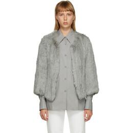 Yves Salomon Grey Fur Cropped Jacket 21WY484850KLLUN