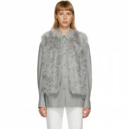 Yves Salomon Grey Feather Cropped Vest 21W9WAA10455PLUX