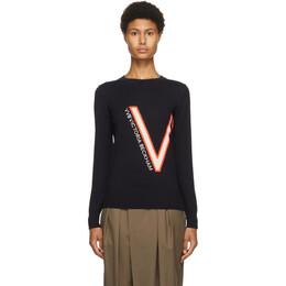 Victoria, Victoria Beckham Navy Wool Logo Sweater 2320KJU001613A