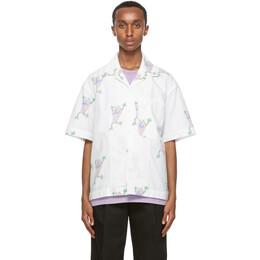 Jacquemus White Flip Flop Print La Chemise Jean Short Sleeve Shirt 206SH21-206 131153