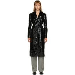 Alexander Wang Black Croc Single-Breasted Coat 1WC2203139