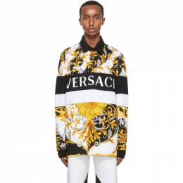 Versace White and Gold Acanthus Long Sleeve Polo A87193 A236034