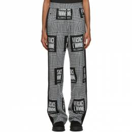 Versace Black and White Address Plate Track Pants A87469 A235127
