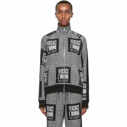 Versace Black and White Address Plate Track Jacket A87472 A235127