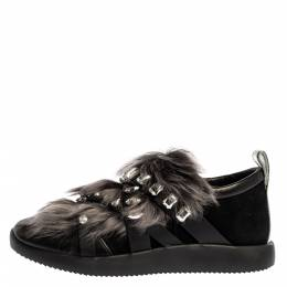 Giuseppe Zanotti Design Black Suede and Fur Christie Crystal Embellished Slip On Sneakers Size 39 327173