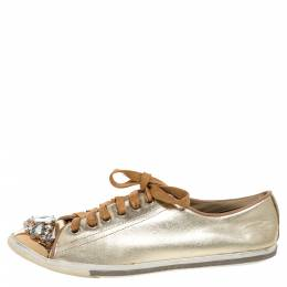 Miu Miu Gold Leather Crystal Embellished Cap Toe Sneakers Size 38 326750