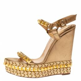 Christian Louboutin Metallic Gold Studded Leather Cataclou Espadrille Wedge Platform Sandals Size 39 328299