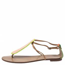 Giuseppe Zanotti Design Tricolor Leather And Glitter Embellished Thong Flat Sandals Size 41 325906