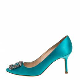 Manolo Blahnik Blue Satin Hangisi Crystal Embellished Pointed Toe Pumps Size 38 328387