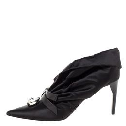 Miu Miu Black Ruched Satin Crystal Bow Embellished Pointed Toe Pumps Size 41 328121