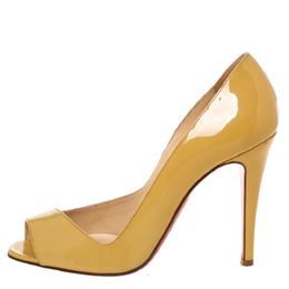 Christian Louboutin Yellow Patent Leather Peep Toe Pumps Size 39 328129