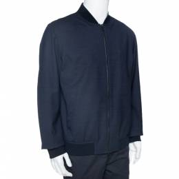 Loro Piana Navy Blue Wool Storm System Bomber Jacket XL 328221