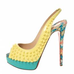 Christian Louboutin Multicolor Patent, Leather And Python Lady Peep Toe Platform Slingback Sandals Size 38.5 328103