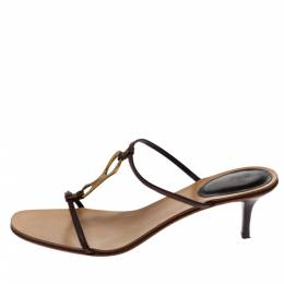 Gucci Brown Leather T-Strap Sandals Size 40.5 328275