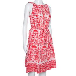 Ch Carolina Herrera Red & White Floral Print Cotton Sleeveless Dress L 328099