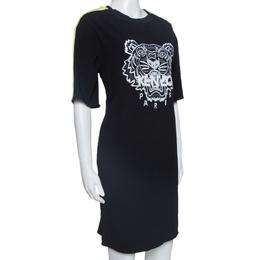 Kenzo Black Crepe Embroidered Tiger Motif T-Shirt Dress M 328096