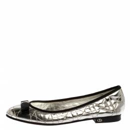 Dior Metallic Silver Quilted Cannage Leather My Bow Ballet Flats Size 37 326812