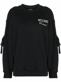 Moschino logo-embroidered laced-sleeve sweatshirt A17085427