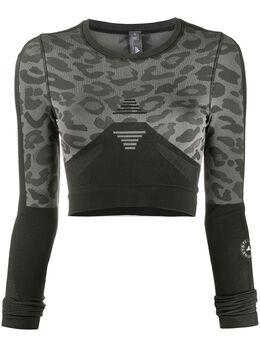 Adidas by Stella McCartney топ с длинными рукавами и леопардовым принтом FR9009