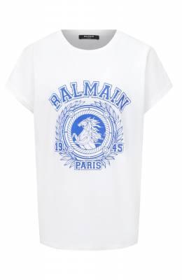 Хлопковая футболка Balmain UF01351/I589