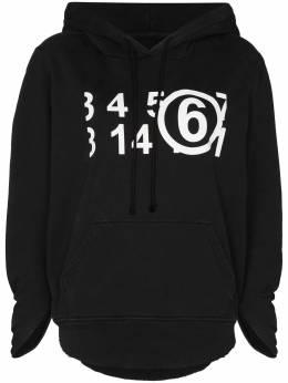 Mm6 Maison Margiela Numerical-logo rolled-sleeve hoodie S62GU0037S25409
