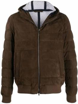 Herno hooded suede bomber jacket PL002UR18058