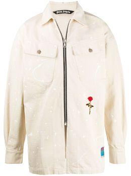 Palm Angels джинсовая куртка на молнии с принтом PMEA136E20DEN0010325